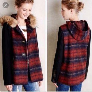 Anthropologie Elevenses Plaid Wool Coat